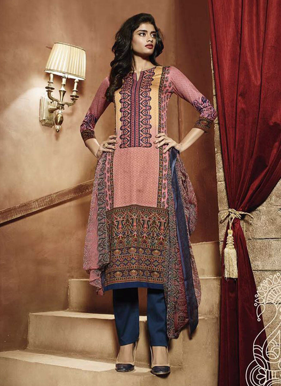 Ganga 3943 Blue & Peach Color Satin Cotton Designer Suit