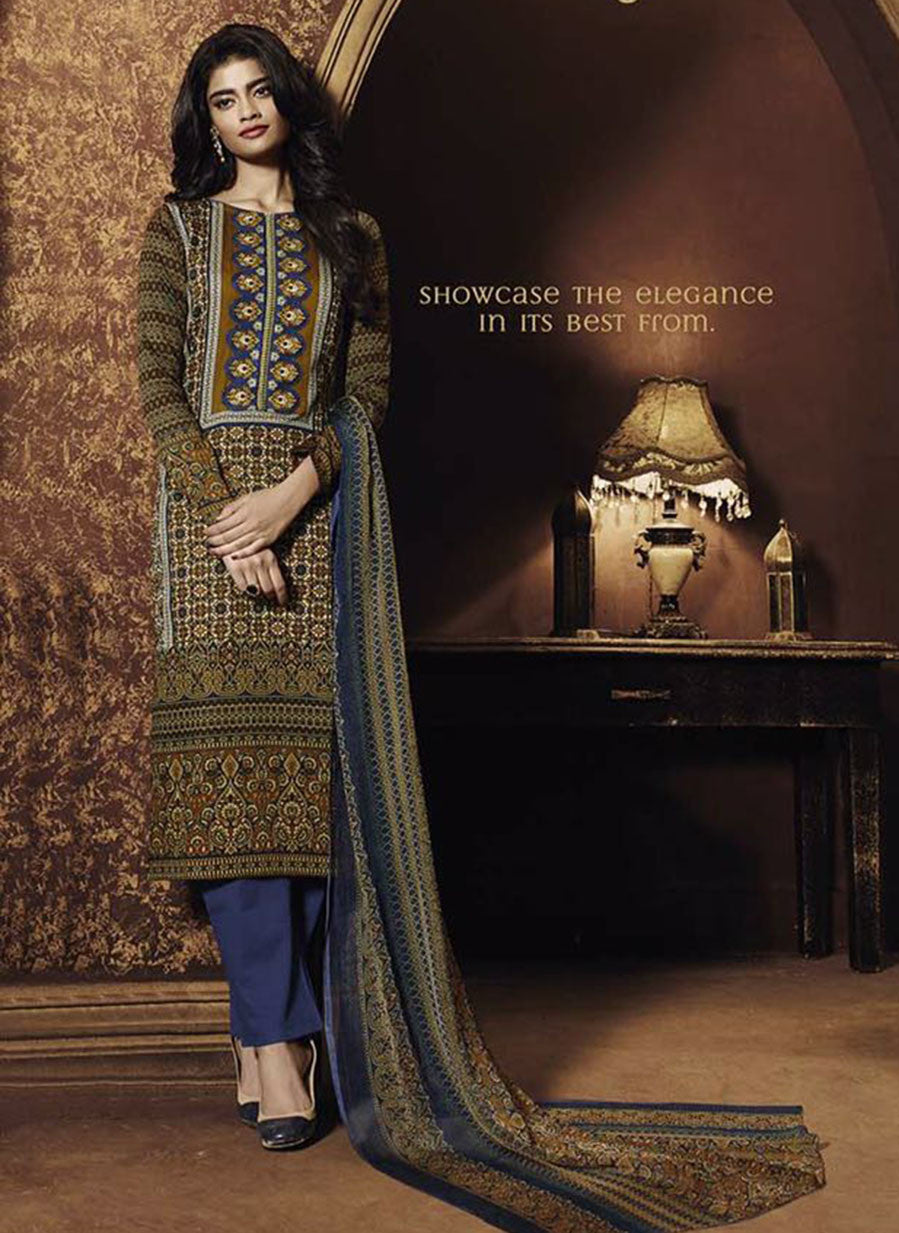 Ganga 3944 Blue & Brown Color Satin Cotton Designer Suit