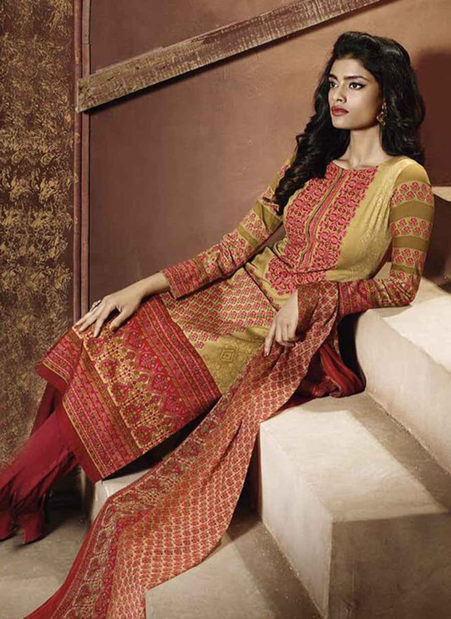 Ganga 3945 Red & Beige Color Satin Cotton Designer Suit