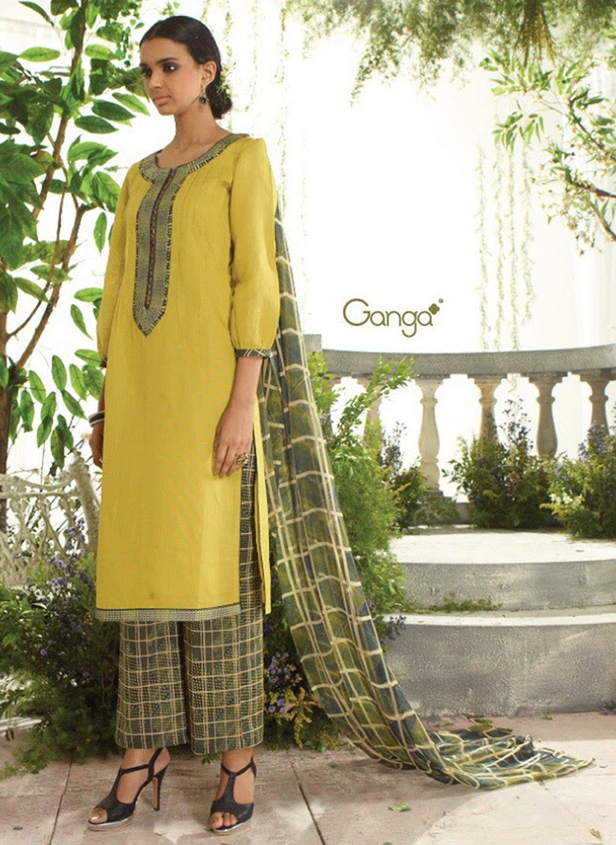 Ganga 3948 Green & Yellow Color Lawn Cotton Designer Suit