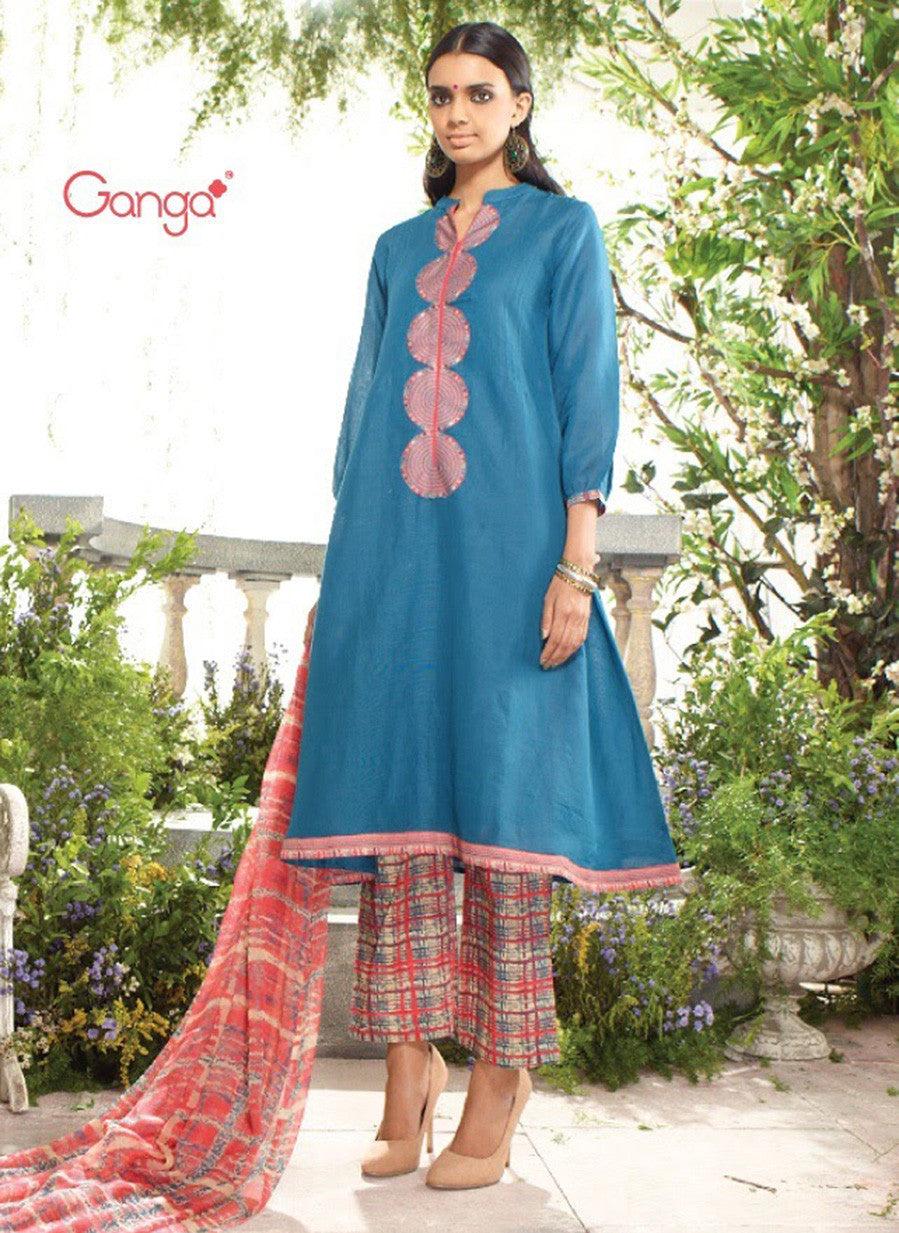 Ganga 3952 Blue & Peach Color Lawn Cotton Designer Suit