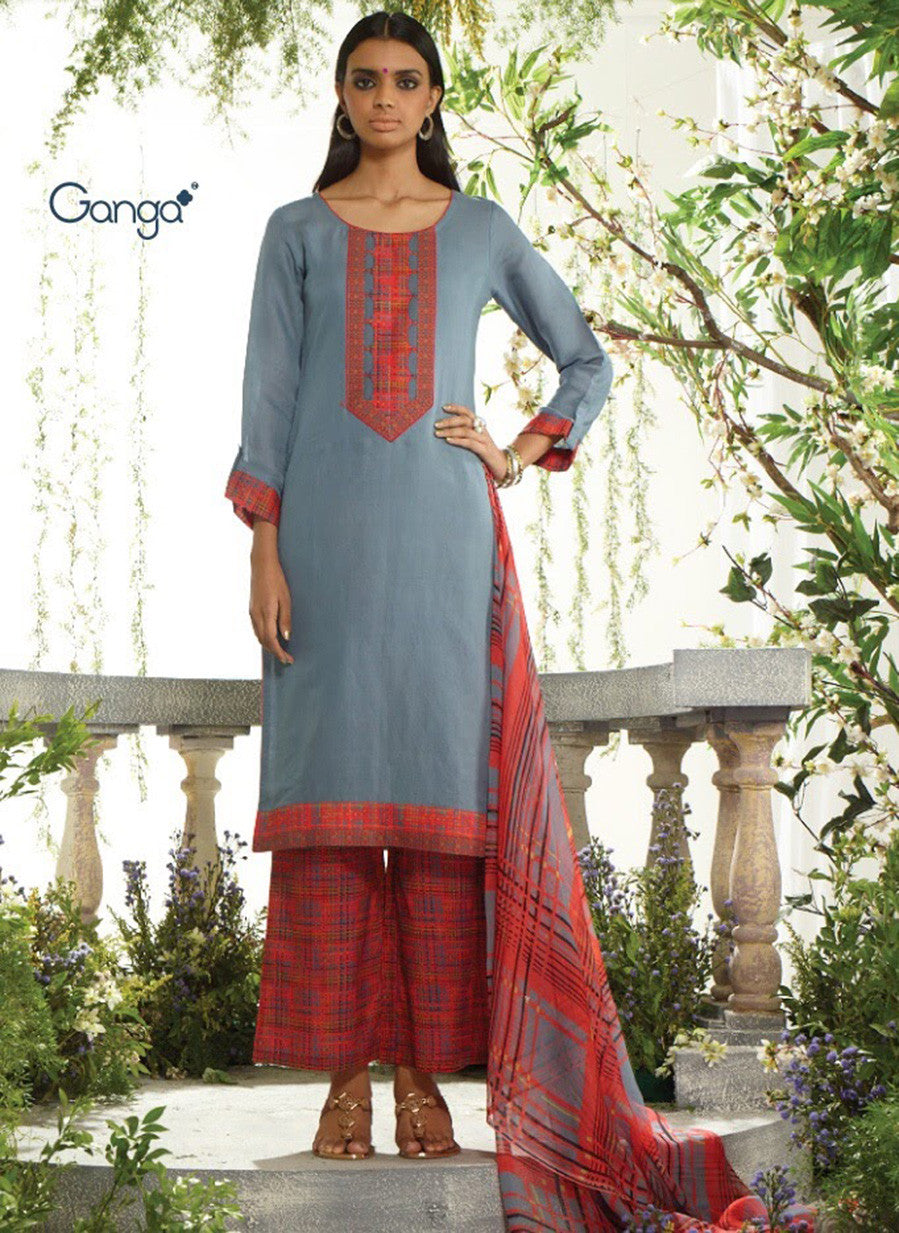 Ganga 3954 Grey & Red Color Lawn Cotton Designer Suit