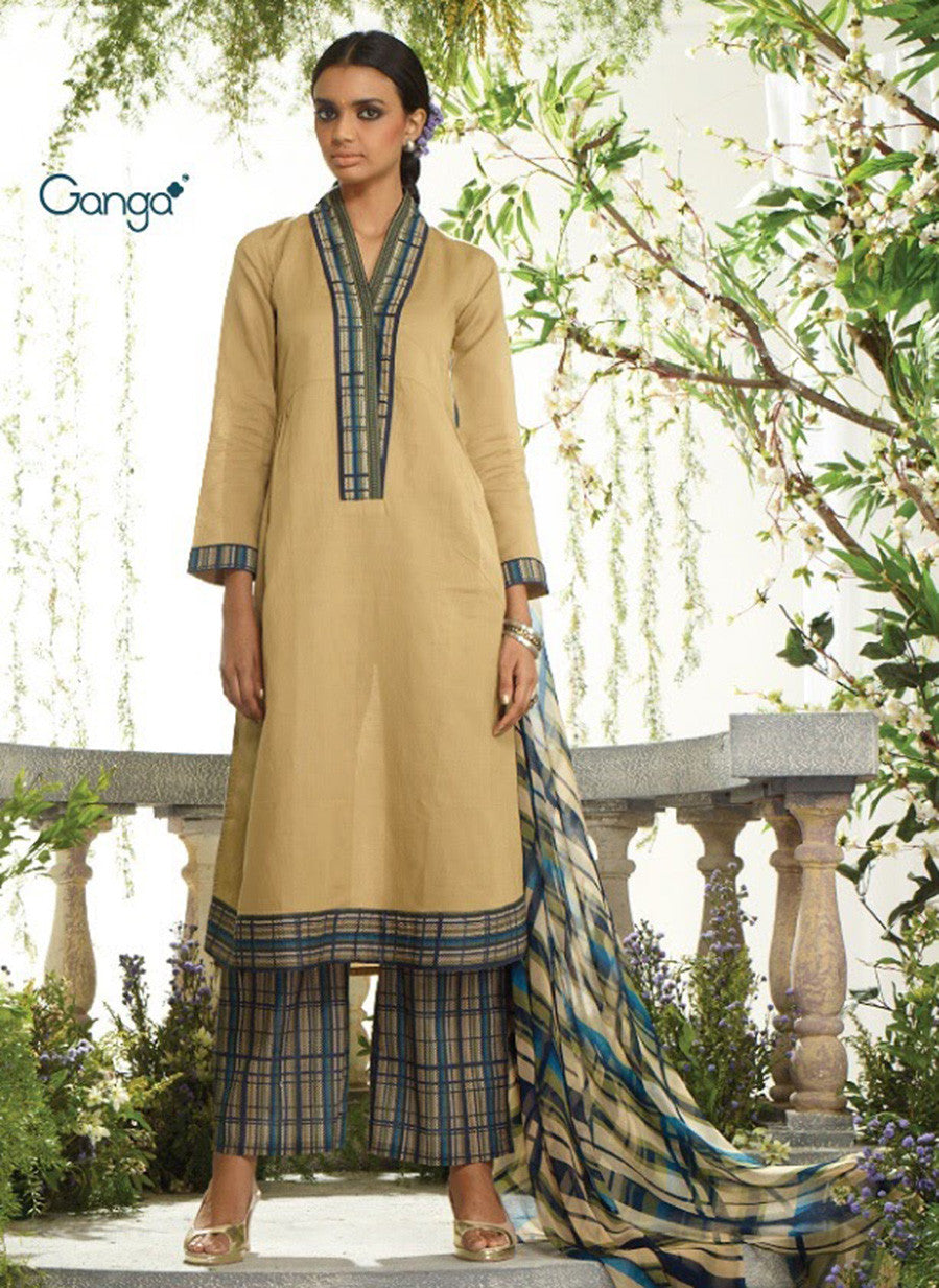Ganga 3956 Beige & Blue Color Lawn Cotton Designer Suit