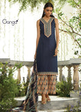 Ganga 3957 Blue & Peach Color Lawn Cotton Designer Suit