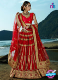AZ 2202 Red Dupion Silk Embroidered Party Wear Lehenga