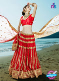 AZ 2203 Red Dupion Silk Embroidered Party Wear Lehenga