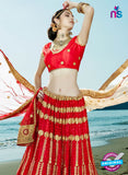 AZESZ 2203 Red Dupion Silk Embroidered Party Wear Lehenga