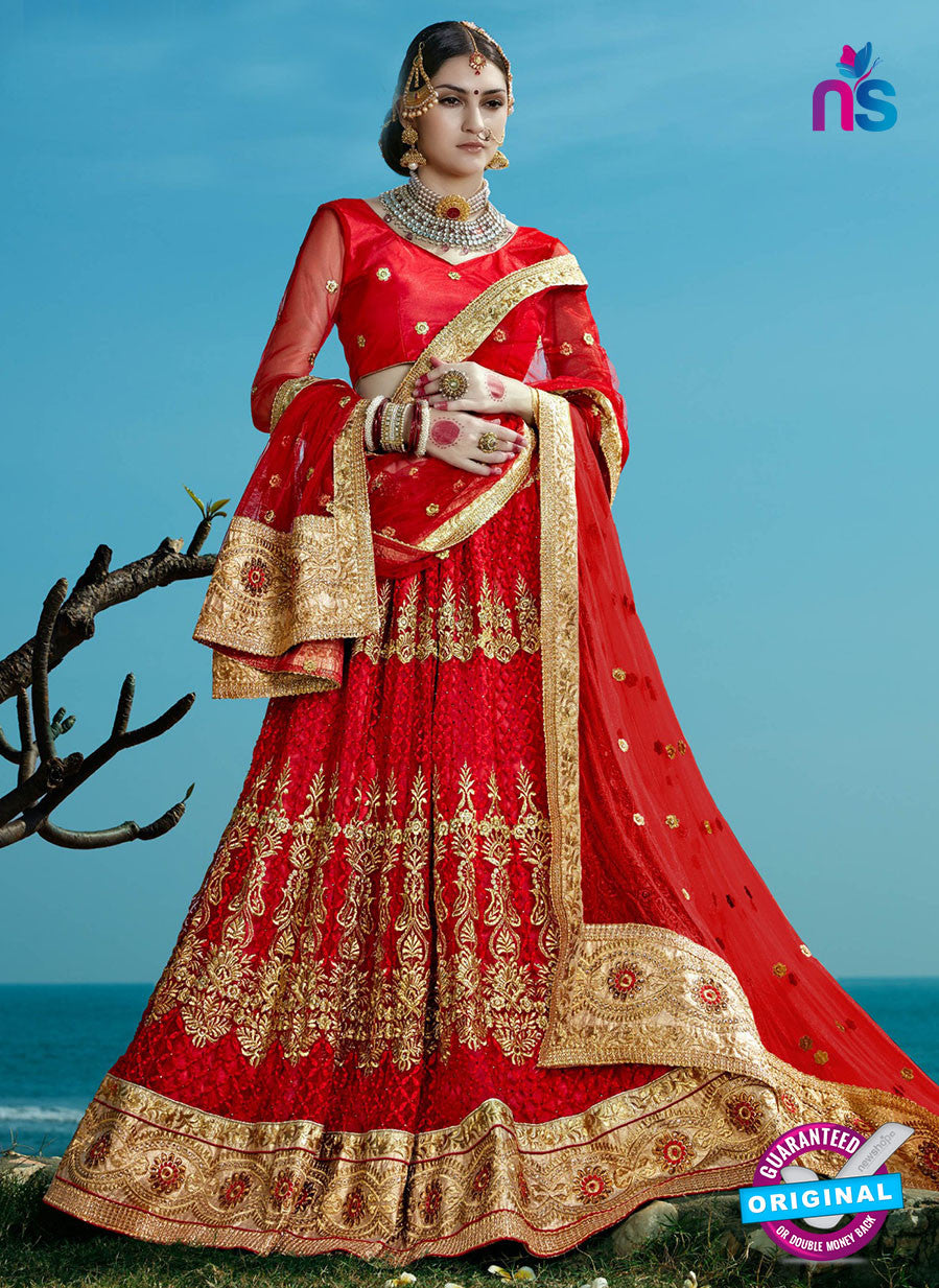 AZ 2204 Red Dupion Silk Embroidered Party Wear Lehenga