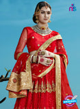 AZESZ 2204 Red Dupion Silk Embroidered Party Wear Lehenga