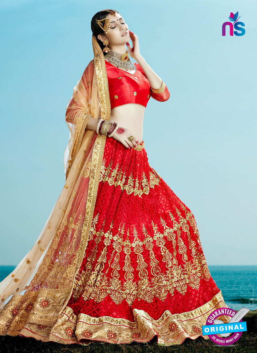 AZ 2205 Red Dupion Silk Embroidered Party Wear Lehenga