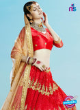 AZESZ 2205 Red Dupion Silk Embroidered Party Wear Lehenga