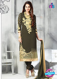 SC 13616 Green Party Wear Embroiderd Faux Georgette Straight Suit