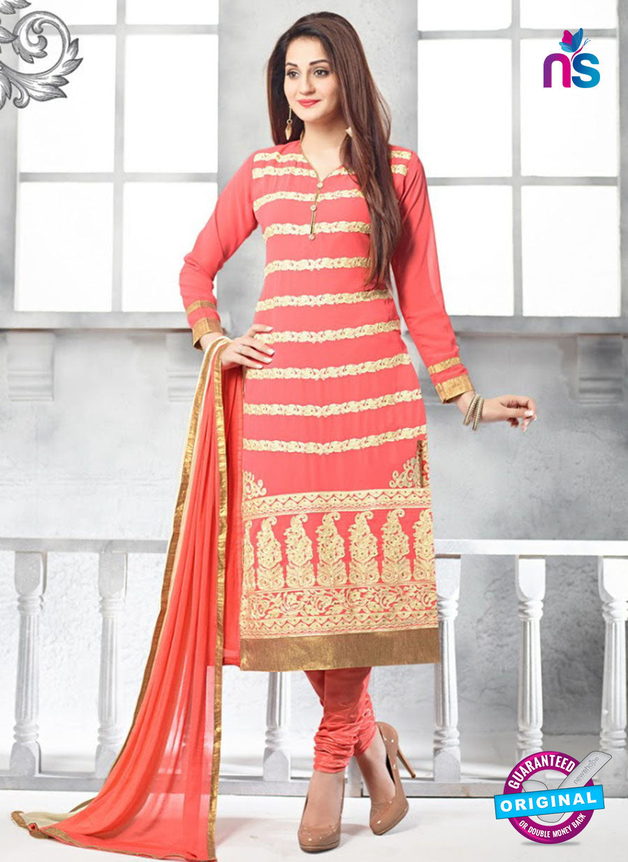 SC 13619 Peach Party Wear Embroiderd Faux Georgette Straight Suit