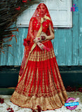 AZ 2206 Red Dupion Silk Embroidered Party Wear Lehenga