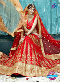 AZ 2207 Red Dupion Silk Embroidered Party Wear Lehenga