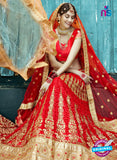 AZESZ 2207 Red Dupion Silk Embroidered Party Wear Lehenga