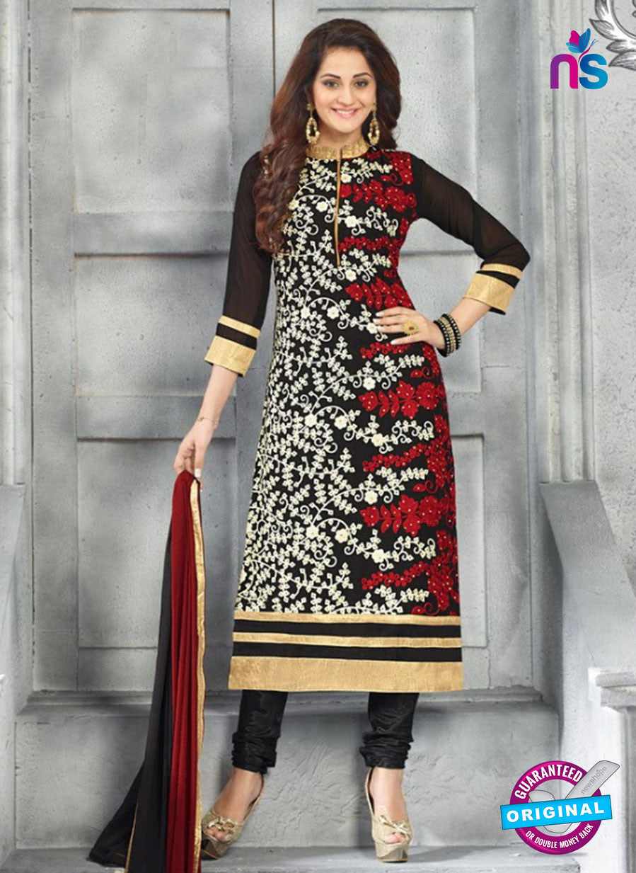 SC 13617 Black Party Wear Embroiderd Faux Georgette Straight Suit
