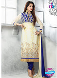 SC 13615 Beige and Blue Party Wear Embroiderd Faux Georgette Straight Suit