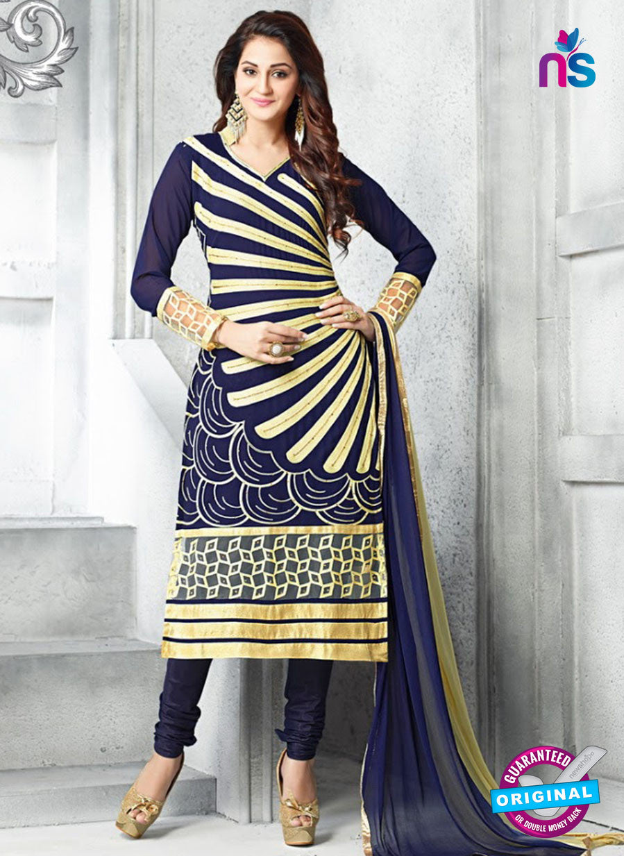 SC 13614 Blue Party Wear Embroiderd Faux Georgette Straight Suit