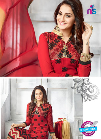 SC 13618 Red Party Wear Embroiderd Faux Georgette Straight Suit