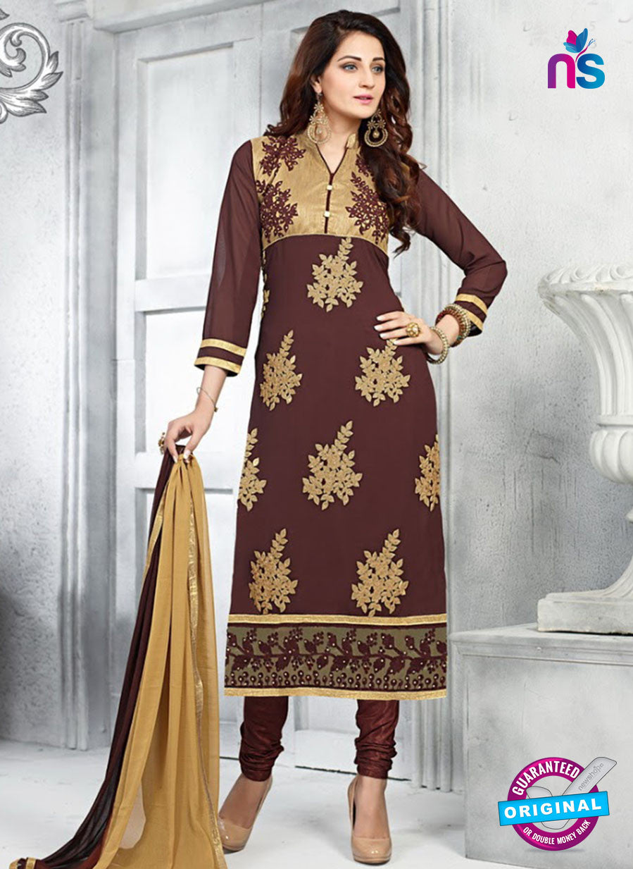 SC 13620 Brown Party Wear Embroiderd Foux Georgette Straight Suit