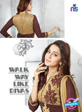 SC 13620 Brown Party Wear Embroiderd Foux Georgette Straight Suit Online