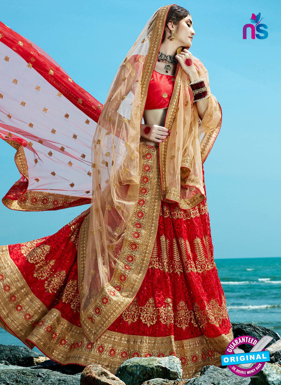 AZ 2208 Red Dupion Silk Embroidered Party Wear Lehenga