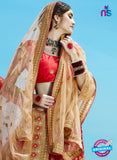 AZESZ 2208 Red Dupion Silk Embroidered Party Wear Lehenga