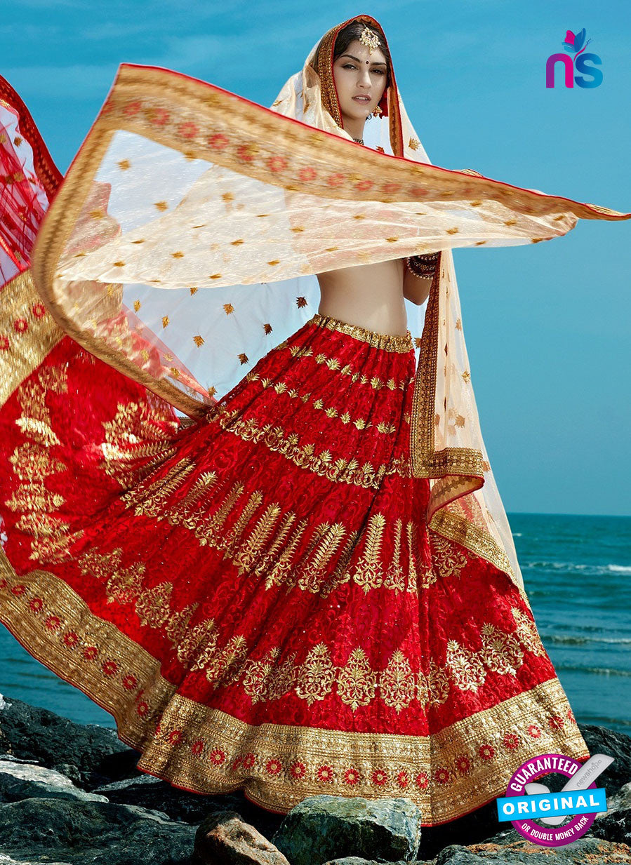 AZ 2209 Red Dupion Silk Embroidered Party Wear Lehenga