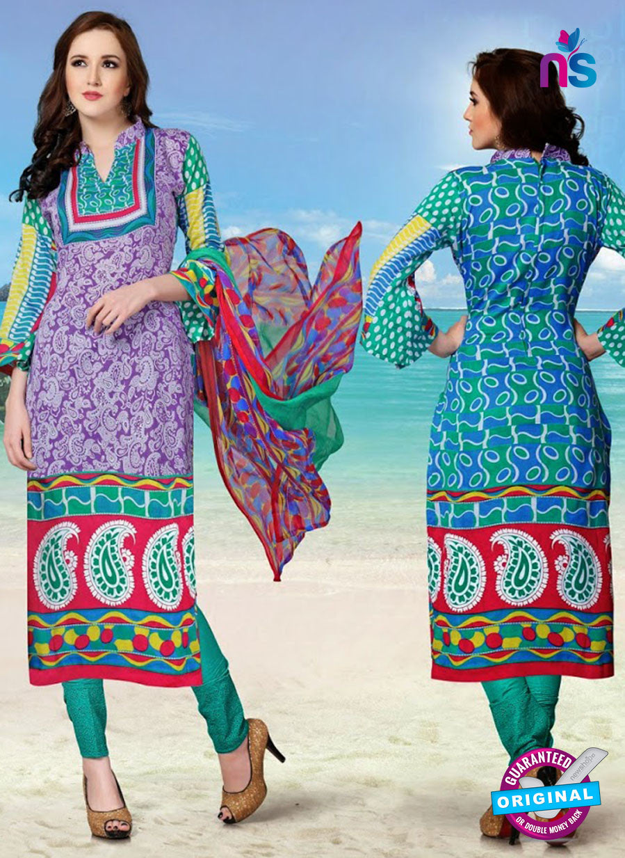 NS12276 Purple and Sea Green Pakistani Suit