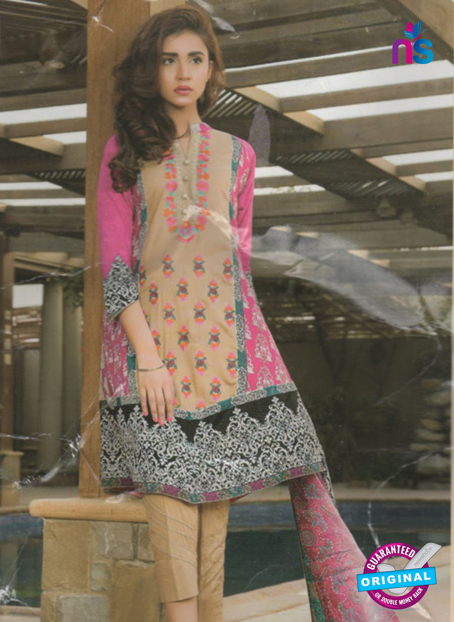 NS 12379 Brown and Magenta Embroidered Printed Lawn Party Suit