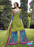 NS 12287 Green and Blue Cotton Satin Party Wear Plazzo Suit