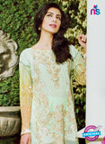 NS10969 Green and Orange Embroidered Lawn Salwar Suit Online