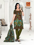 NS11699 Coffee and DarkOliveGreen Printed Popplin Cotton Daily Wear Chudidar Suit