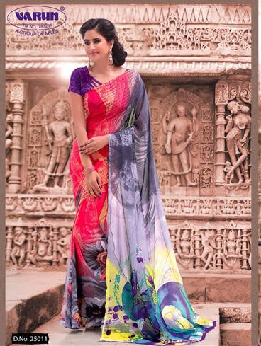 Simran 25011 RosePink and SlateGray Daily Wear Printed Georgette Saree