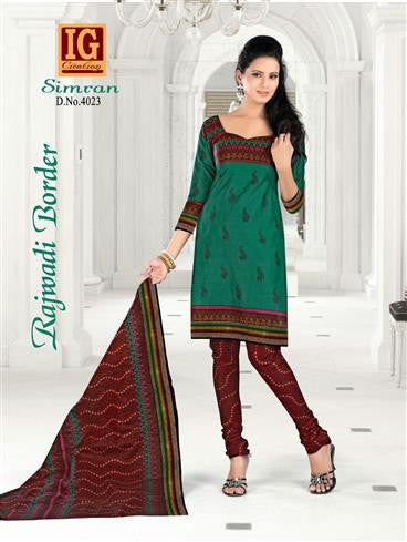 NS11716 DarkSeaGreen and Maroon Printed Popplin Cotton Daily Wear Chudidar Suit