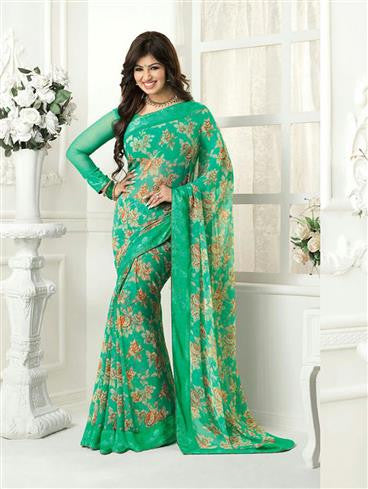Vinay Fashion Star Walk  16985  Green Casual Georgette Saree