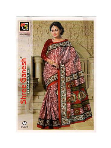 NS11641 C Maroon Designer Printed Pure Cotton Saree