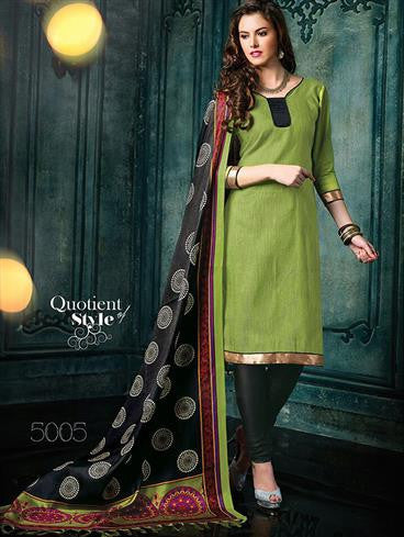NS11456 OliveGreen and Black Banarasi Jacquard Daily Wear Straight Suit