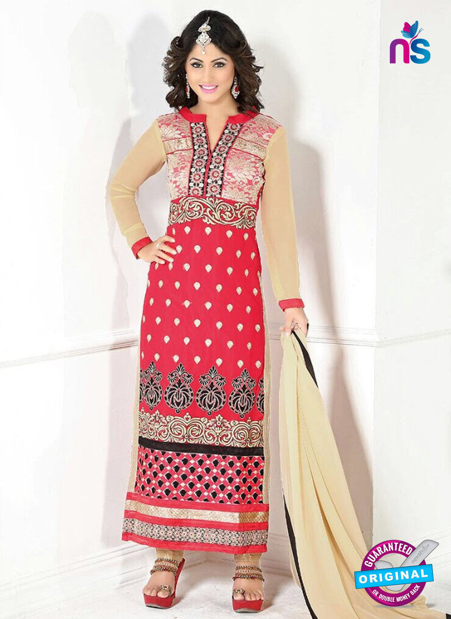 NS10039 Pink and Brown Party Wear Embroidered Georgette Long Straight Suit