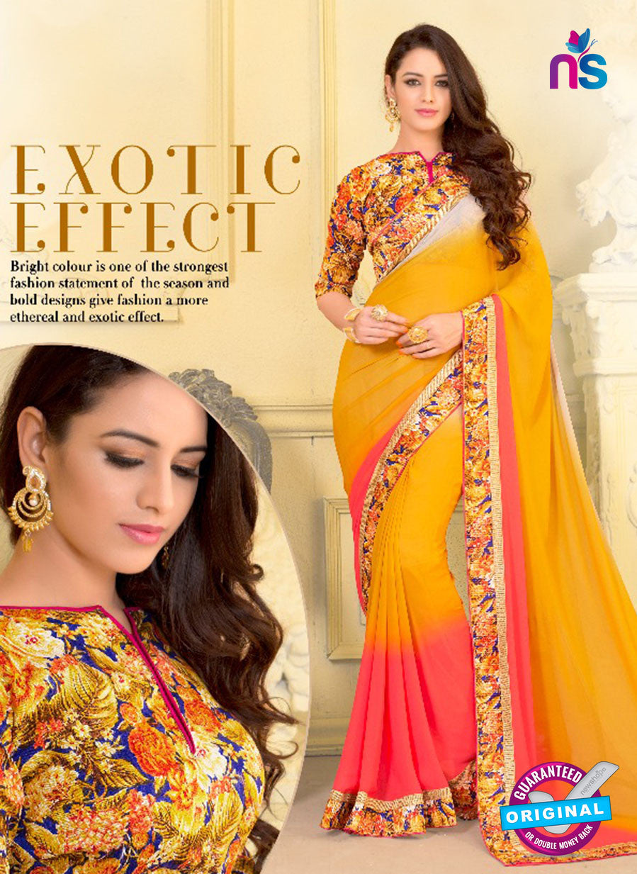 SC 13587 Yellow and Peach Chiffon Fancy Function Wear Designer Saree