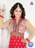 NS10039 Pink and Brown Party Wear Embroidered Georgette Long Straight Suit online