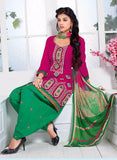 NS10015  Pink & Green Color Semi Lawn Designer Suit
