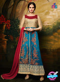 Aashirwad  40002 Beige and Sky Blue Georgette Party Wear Suit