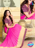 SC 13576 Pink and Beige Chiffon Fancy Function Wear Designer Saree