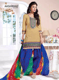 NS10016  Beige & Blue Color Semi Lawn Designer Suit
