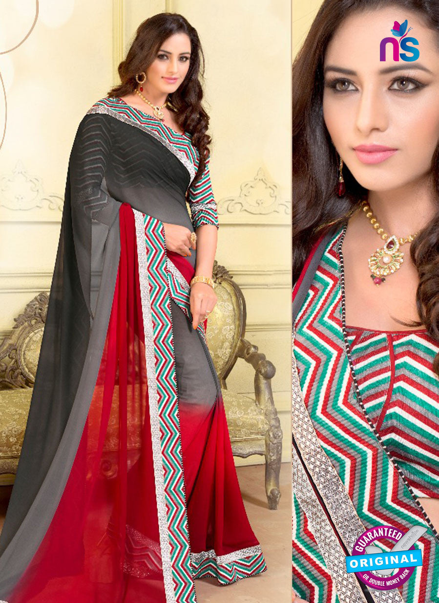 SC 13577 Grey and Red Chiffon Fancy Function Wear Designer Saree