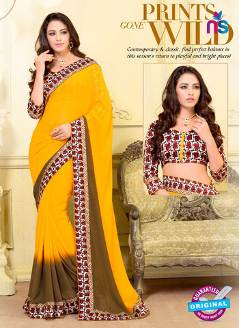 SC 13581 Yellow Chiffon Fancy Function Wear Designer Saree