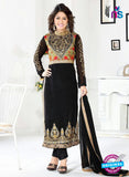NS10040 Black Party Wear Embroidered Georgette Long Straight Suit