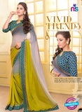 SC 13583 Grey and Green Chiffon Fancy Function Wear Designer Saree
